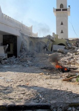 The destroyed section of the mausoleum of Al-Shaab Al-Dahman near the centre of Tripoli after being